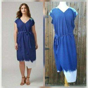 Lane Bryant Dip Dye Wrap Maxi Dress Size 18 NWT